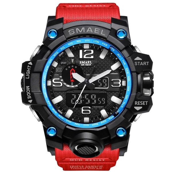 1545 Red Blue - SMAEL Brand Men Sports Watches Dual Display Analog Digital LED Electronic Quartz Wristwatches Waterproof Swimming Military Watch