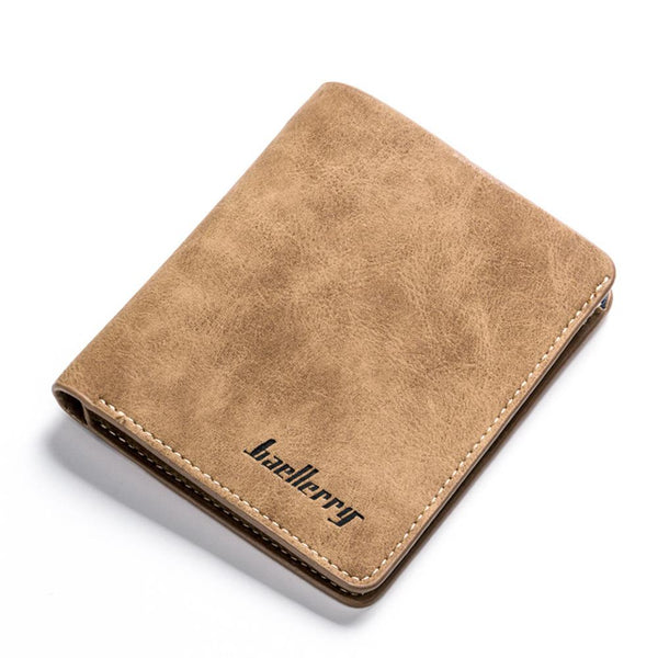 Coffee - banabanma Men Retro Frosted PU Wallet Two Folding Male Purse Credit Card Holder Solid Color Short Wallet purse and wallet ZK30