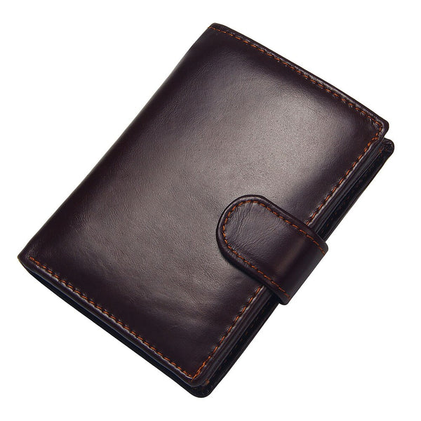 Coffee - Vintage Men's Short Wallet Men Genuine Leather Clutch Wallets Purses First Layer Real Leather Multi-Card Bit Retro Card Holder