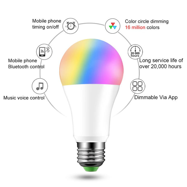 [variant_title] - 20 Modes Dimmable E27 RGB LED Smart Bulb 15W Bluetooth Magic Lamp RGBW RGBWW Smart Lamp B22 Music Control Apply to IOS /Android