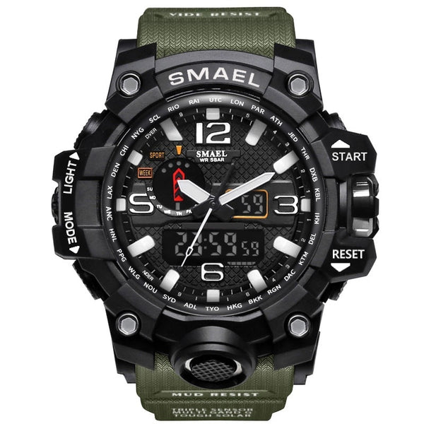 1545 ArmyGreen - SMAEL Brand Men Sports Watches Dual Display Analog Digital LED Electronic Quartz Wristwatches Waterproof Swimming Military Watch
