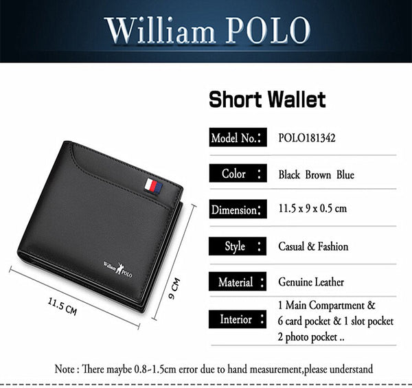 [variant_title] - 2019 Men's Slim Wallet Genuine Leather Mini Purse Casual Design Bifold Wallet Fashion Brand Short Small Pouch Gift PL181342
