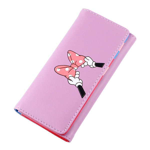 lavender - BOTUSI Mickey Bow Lady Purses Handbags Brand Design Women Wallets PU Leather Money Coin Purse Cards ID Holder Cartoon Printing
