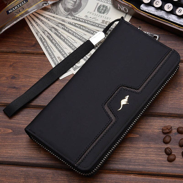 Black C - New Men Leather Wallet High Quality Zipper Wallets Men Long Purse Male Clutch Phone Bag Wristlet Coin Purse Card Holder MWS184