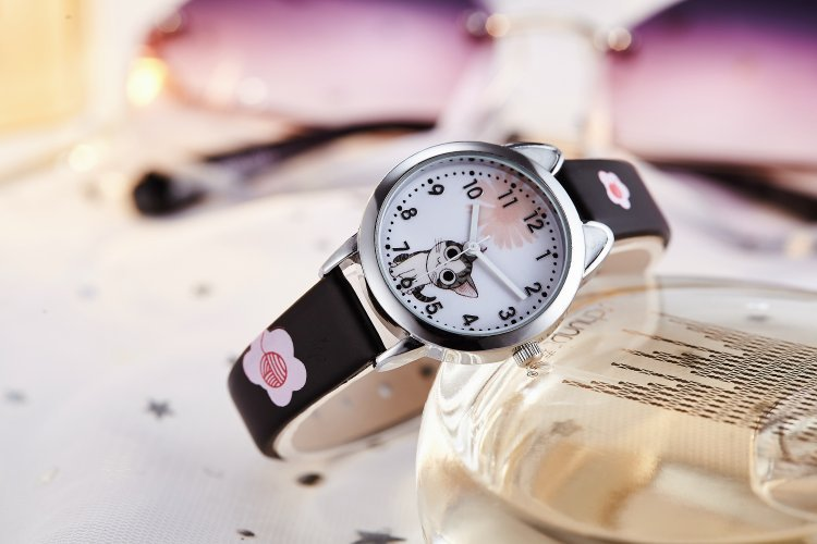 black - NEW arrive Cute Cheese Cat Pattern Kids Watch Quartz Analog Child Watches For Boys Girls Student Clock Gift Relogio Feminino