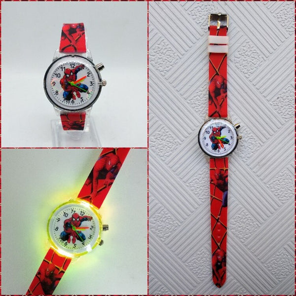 Red - Flashing light Spiderman children watch high quality kids watches child luminous boys girls clock printing silicone belt table