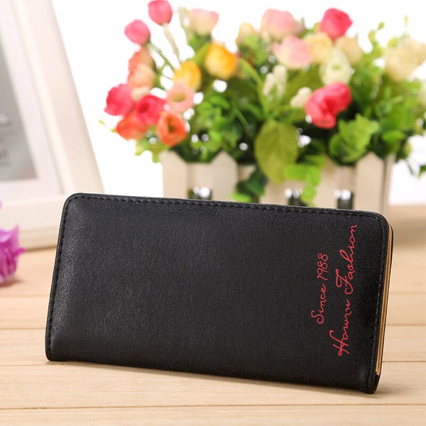 Black - Minimalist Designer Slim Long Bifold Women Wallet Female Clutch Leather Brand Coin Purse Ladies Card Holder Money Dollar Cuzdan