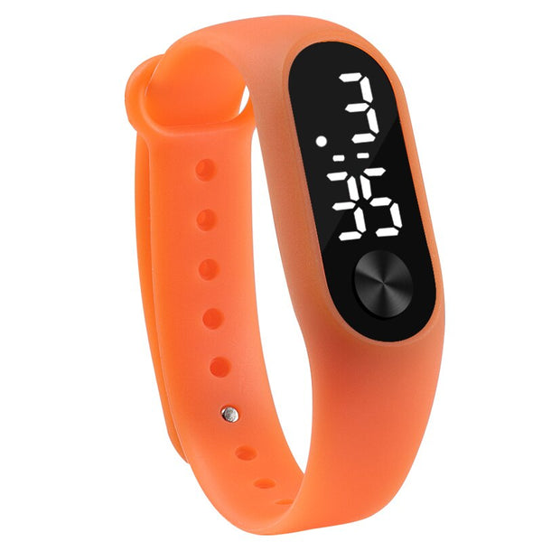 orange - Fashion Men Women Casual Sports Bracelet Watches White LED Electronic Digital Candy Color Silicone Wrist Watch for Children Kids