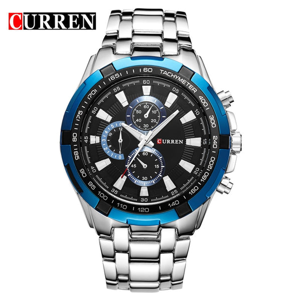 silver bule - HOT2016 CURREN Watches Men quartz TopBrand  Analog  Military male Watches Men Sports army Watch Waterproof Relogio Masculino8023