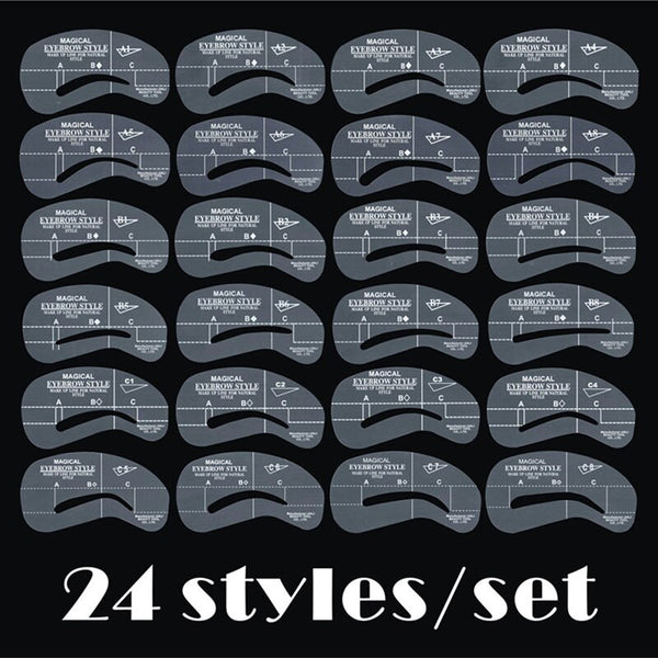 24 - 24pcs/set Grooming Stencil Kit MakeUp Shaping DIY Beauty Eyebrow Template Stencils Make up Shaper Tools Accessories