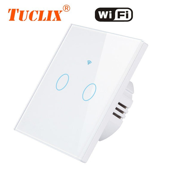 [variant_title] - TUCLIX EU WiFi APP Switch 1/2/3 Gang 110-240v Wall Light Touch Screen Switch,Crystal Glass Switch Panel