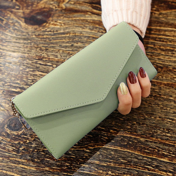 MatchaGreen - Long Wallet Women Purses Tassel Fashion Coin Purse Card Holder Wallets Female High Quality Clutch Money Bag PU Leather Wallet