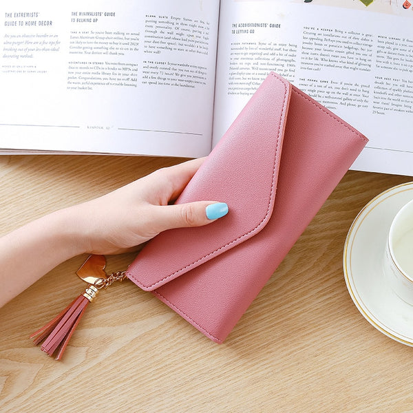 DarkPink - Long Wallet Women Purses Tassel Fashion Coin Purse Card Holder Wallets Female High Quality Clutch Money Bag PU Leather Wallet
