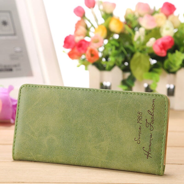 Green - Minimalist Designer Slim Long Bifold Women Wallet Female Clutch Leather Brand Coin Purse Ladies Card Holder Money Dollar Cuzdan