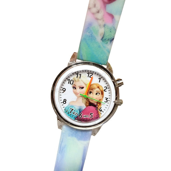 Flash Blue - Princess Elsa Children Watches Electronic Colorful Light Source Child Watch Girls Birthday Party Kids Gift Clock Childrens Wrist