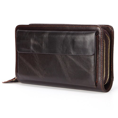 Coffee - Business Genuine Leather Clutch Wallet Men Long Leather Phone Bag Purse Male  Large Size Handy Coin Wallet Card Holder Money Bag