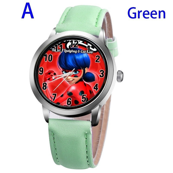 A-GREEN - New arrive Miraculous Ladybug Watches Children Kids gift Watch Casual Quartz Wristwatch fashion leather watch Relogio Relojes