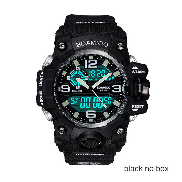 black no box - Men Sports Watches BOAMIGO Brand Digital LED Orange Shock Swim Quartz Rubber Wristwatches Waterproof Clock Relogio Masculino