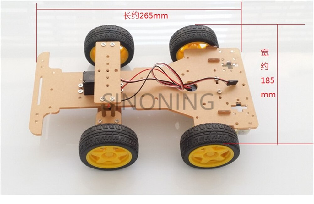 [variant_title] - Steering engine 4 wheel 2 Motor Smart Robot Car Chassis kits DIY For Arduino with FUTABA 3003