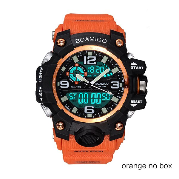 orange no box - Men Sports Watches BOAMIGO Brand Digital LED Orange Shock Swim Quartz Rubber Wristwatches Waterproof Clock Relogio Masculino