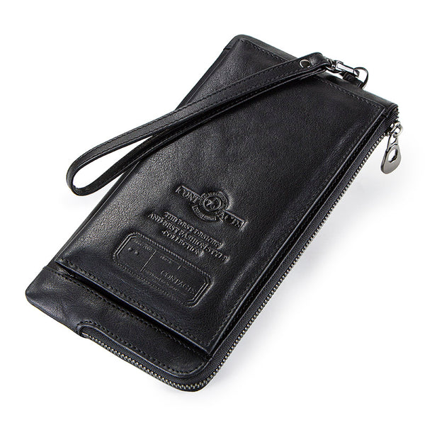 Black - 2019 Men Wallet Clutch Genuine Leather Brand Rfid  Wallet Male Organizer Cell Phone Clutch Bag Long Coin Purse Free Engrave