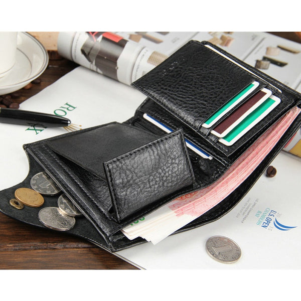 [variant_title] - 2018 New brand high quality short men's wallet ,Genuine leather qualitty guarantee purse for male,coin purse, free shipping