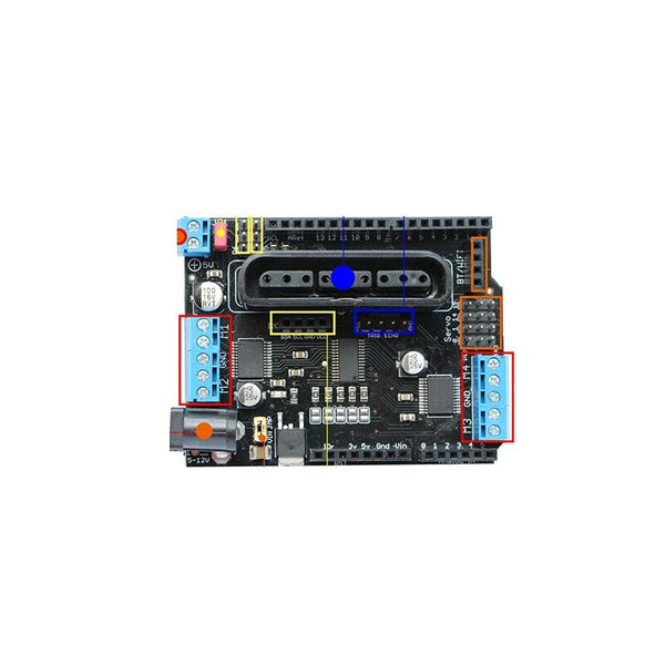[variant_title] - 2018 Arduino Shield Expansion Board 6-12V with 4 Channels Motors Servos Ports PS2 Joystick Remote Control