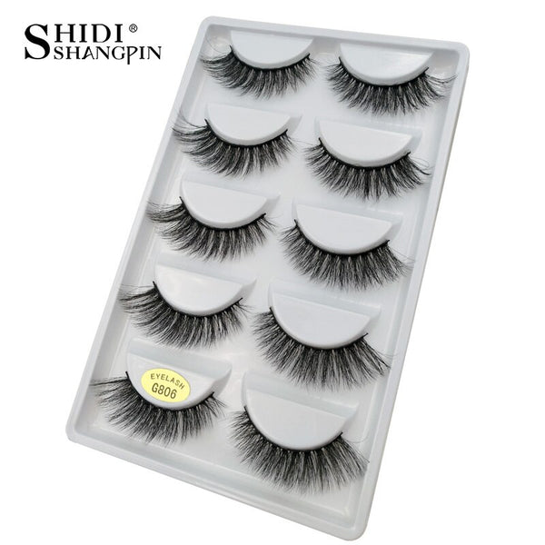 G806 - 5 pairs false eyelashes natural 3D mink lashes makeup eyelash extension long mink eyelashes volume fake eye lashes cilio russian