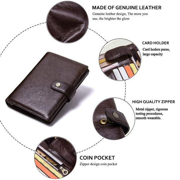 [variant_title] - Casual Genuine Leather Wallet Men Passport Holder Coin Purse PORTFOLIO MAN Portomonee Short Wallets Passport Cover Travel Bag