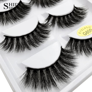 g800 - SHIDISHANGPIN 5 pairs mink eyelashes natural long 3d mink lashes hand made false eyelashes dramatic eyelashes makeup fake lashes