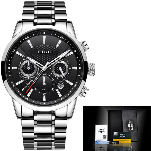 silver blakc - LIGE 2018 Watch Men Fashion Sport Quartz Clock Mens Watches Brand Luxury Full Steel Business Waterproof Watch Relogio Masculino