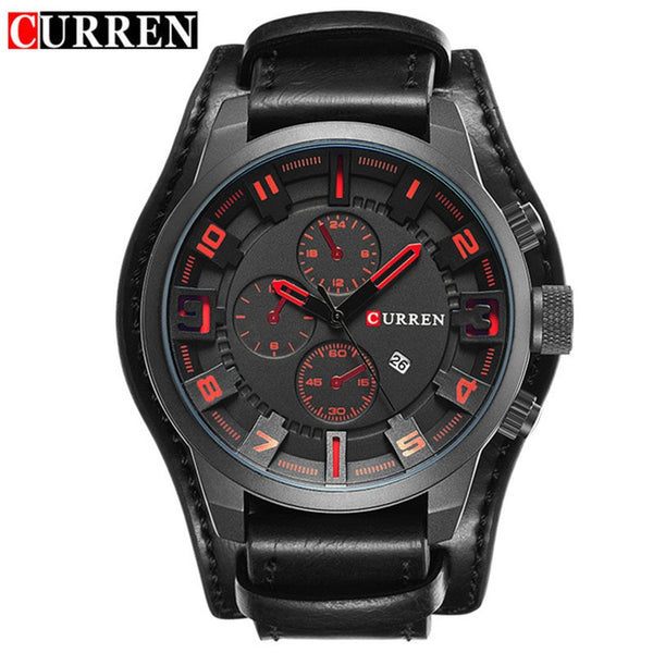 black red - Curren 8225 Army Military Quartz Mens Watches Top Brand Luxury Leather Men Watch Casual Sport Male Clock Watch Relogio Masculino