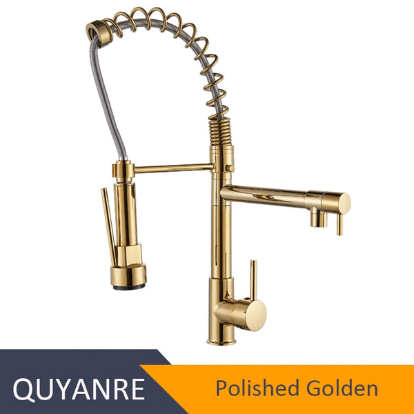 GOLDEN - Blackend Spring Kitchen Faucet Pull out Side Sprayer Dual Spout Single Handle Mixer Tap Sink Faucet 360 Rotation Kitchen Faucets