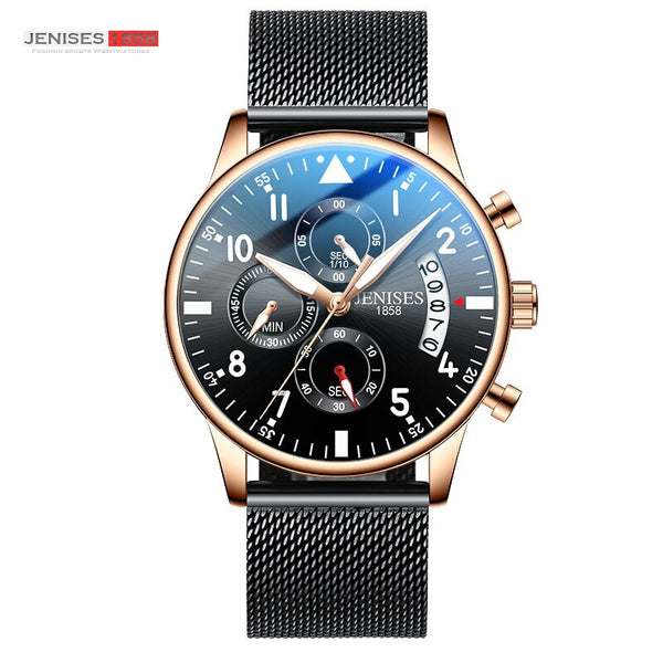Pink - JENISES Men Watch Top Brand Luxury Quartz Watch Men Fashion Military Waterproof Chronograph Sport Watches Saat Relogio Masculino