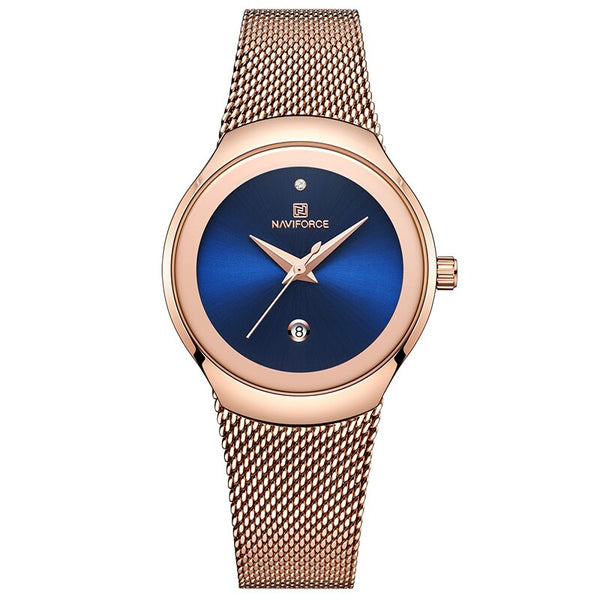 Rose Gold Blue - NAVIFORCE Watch Women Fashion Dress Quartz Watches Lady Stainless Steel Waterproof Wristwatch Simple Girl Clock Relogio Feminino