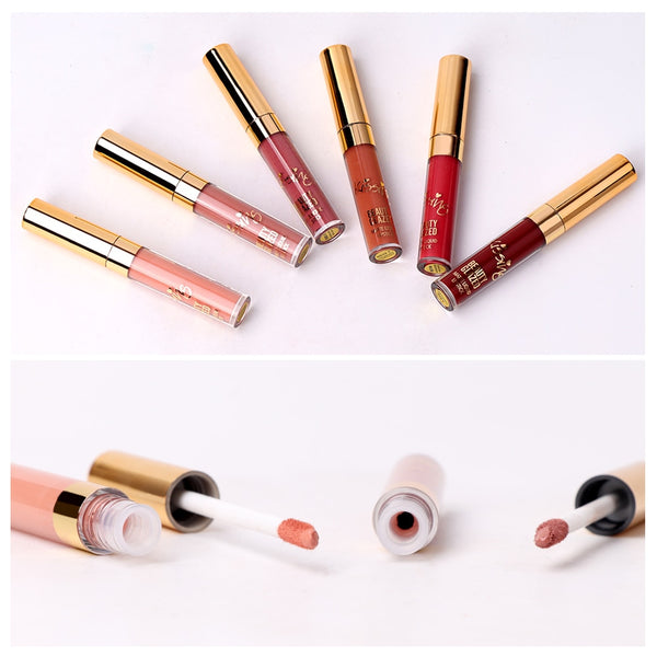 [variant_title] - BEAUTY GLAZED 6 Colors Matte Lipstick Set Waterproof Long Lasting Lip Gloss Nude Velvet Pigment Batom Women Fashion Lip Makeup