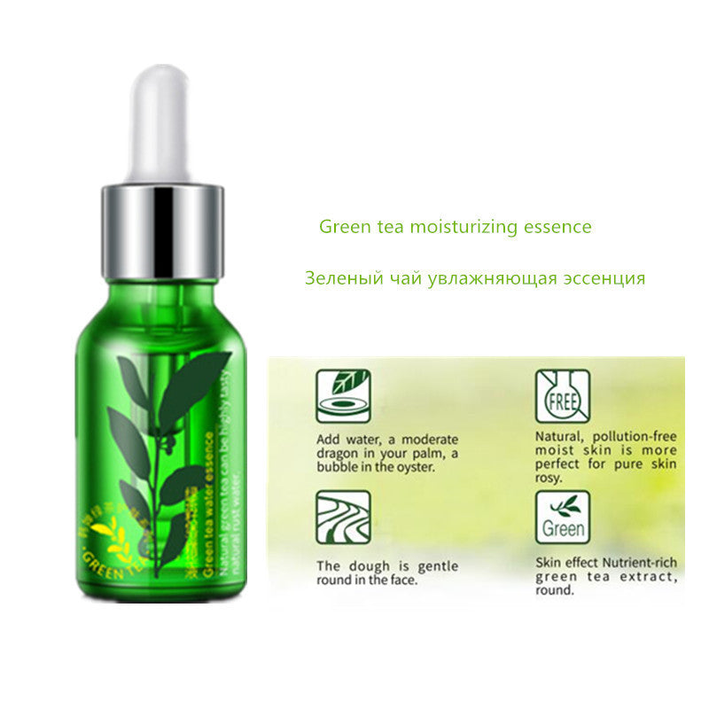 Green tea - Face Essence Snail Hyaluronic Acid Green Tea Skin Care Moisturizing Whitening Anti-Aging Advanced Face Serum Cosmetic 15ml