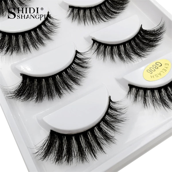 g806 - SHIDISHANGPIN 5 pairs mink eyelashes natural long 3d mink lashes hand made false eyelashes dramatic eyelashes makeup fake lashes