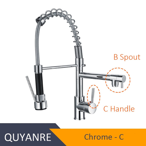 CHROME GUANGBAZI - Blackend Spring Kitchen Faucet Pull out Side Sprayer Dual Spout Single Handle Mixer Tap Sink Faucet 360 Rotation Kitchen Faucets