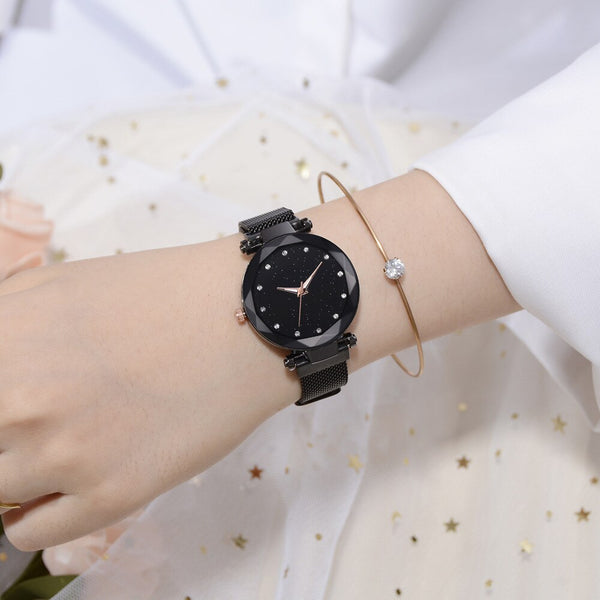 [variant_title] - Top Brand Luxury Ladies Watch Magnet Stainless Steel Mesh with Starry Sky Fashion Diamond Female Quartz Watch Relogio Feminino