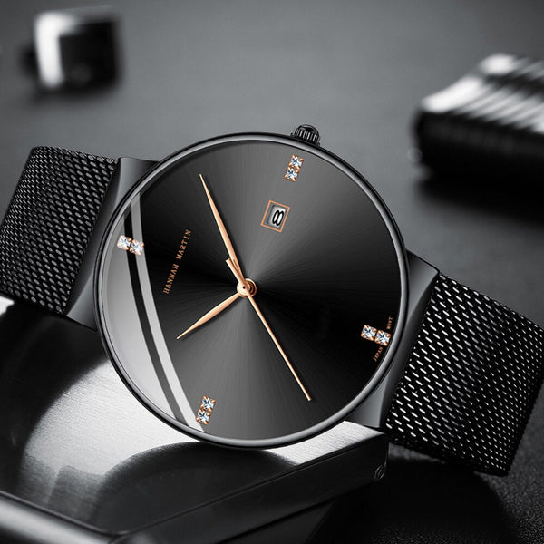 [variant_title] - Men Watch Stainless Steel Classical Business Waterproof Top Brand luxury Quartz Movement Wristwatches Calendar relogio masculino