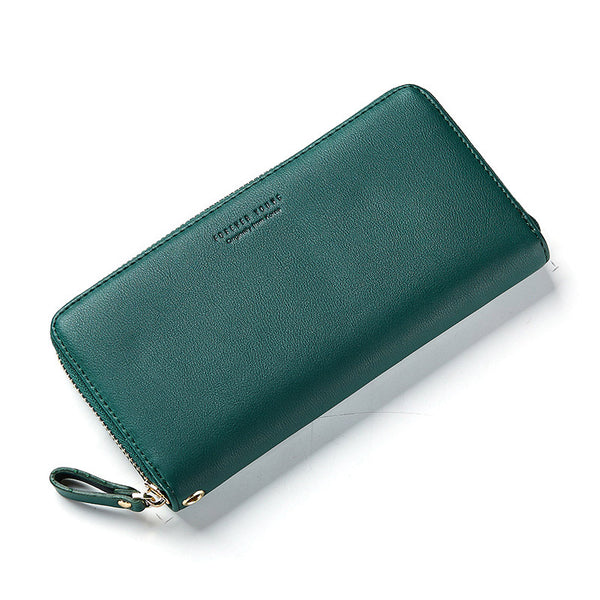 Green - WEICHEN Wristband Women Long Clutch Wallet Large Capacity Wallets Female Purse Lady Purses Phone Pocket Card Holder Carteras