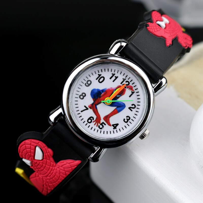 Black no Flash light - 2019 Spiderman Children Watches Cartoon Electronic Colorful Light Source Child Watch Boys Birthday Party Kids Gift Clock Wrist