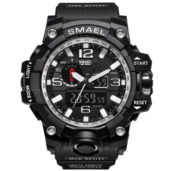1545 Black Silver - SMAEL Brand Men Sports Watches Dual Display Analog Digital LED Electronic Quartz Wristwatches Waterproof Swimming Military Watch