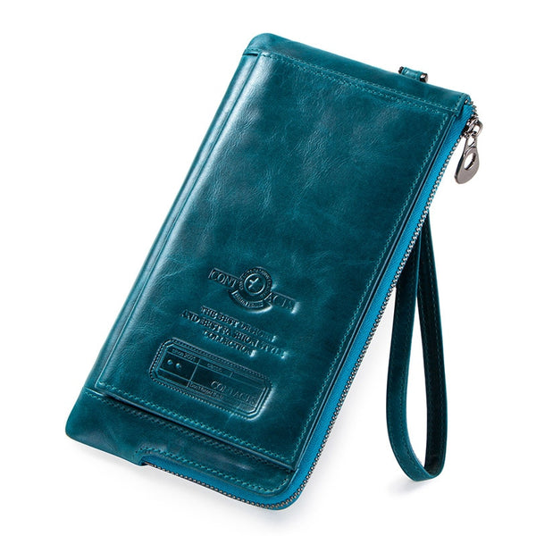 Blue - 2019 Men Wallet Clutch Genuine Leather Brand Rfid  Wallet Male Organizer Cell Phone Clutch Bag Long Coin Purse Free Engrave