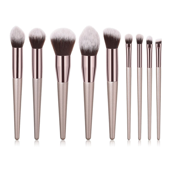 9PCS XB brush set - 10pcs/set Champagne makeup brushes set for cosmetic foundation powder blush eyeshadow kabuki blending make up brush beauty tool