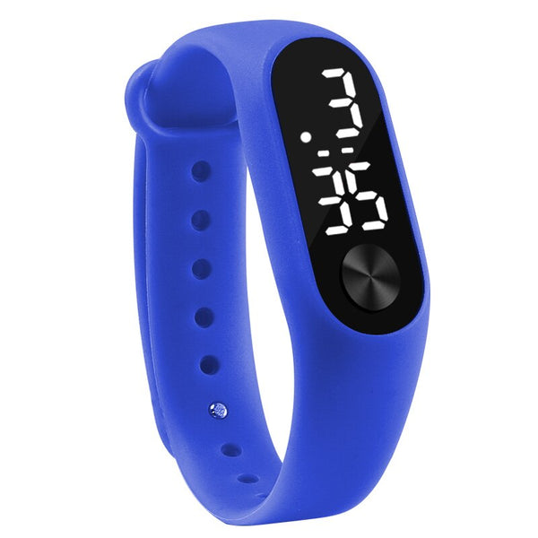 dark blue - Fashion Men Women Casual Sports Bracelet Watches White LED Electronic Digital Candy Color Silicone Wrist Watch for Children Kids