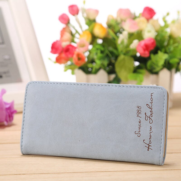 Sky blue - Minimalist Designer Slim Long Bifold Women Wallet Female Clutch Leather Brand Coin Purse Ladies Card Holder Money Dollar Cuzdan