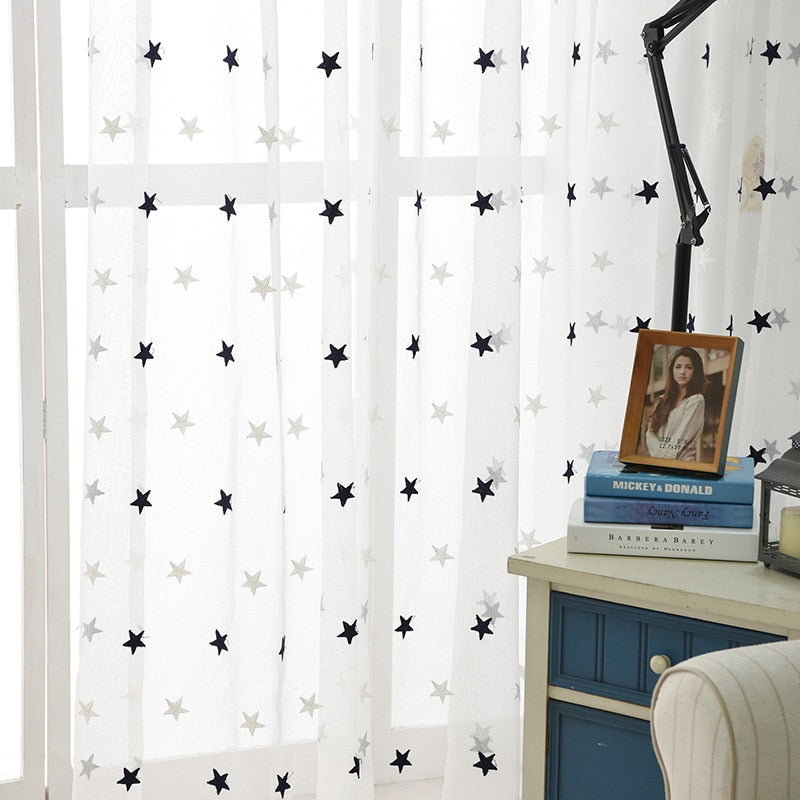 Navy Blue Stars / Contactus for Custom / Grommet - Modern Star Embroidered White Sheer Curtains for Living Room Bedroom Kitchen Tulle Curtains Kids Baby Room Door Window Curtains