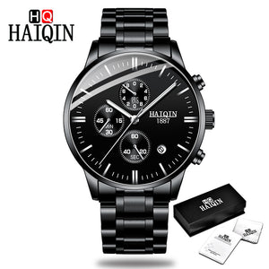 All-black - HAIQIN Men's watches Fashion Mens watches top brand luxury/Sport/military/Gold/quartz/wrist watch men clock relogio masculino